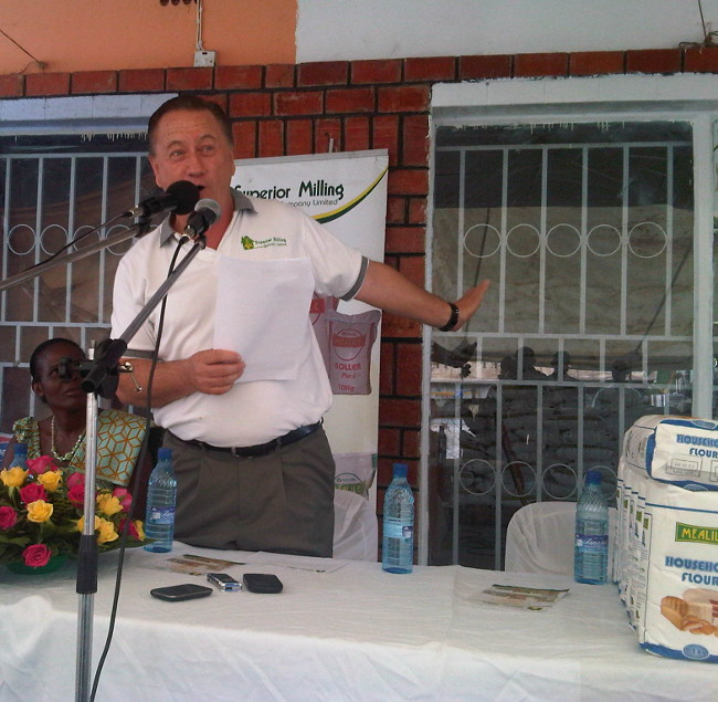 Superior Milling Company Limited Managing Managing Director Peter Cottan addressing delegates during the launch of a depot in Kazungula