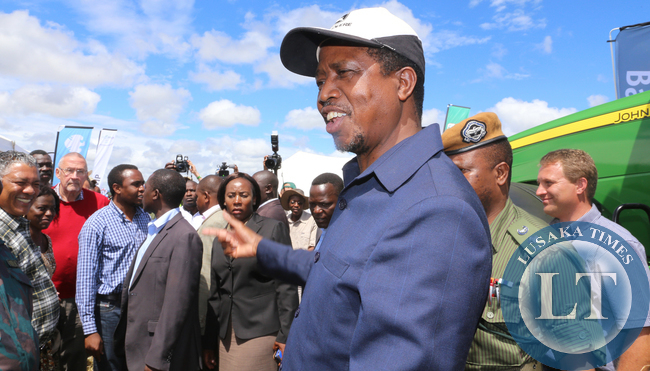 President Edgar Chagwa Lungu in Chisamba during the Agritech Expo Zambia 2015 on Saturday, April 18, 2015. PICTURE BY EDDIE MWANALEZA/STATE HOUSE ©2015.
