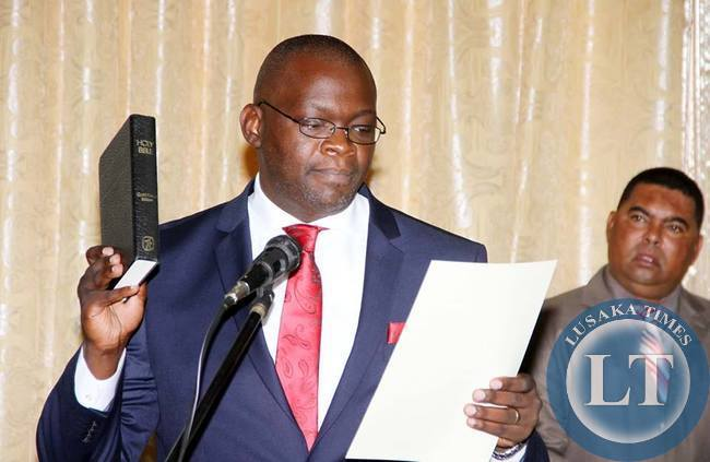 Newly appointed Attorney General Likando Kalaluka during the Swearing in Ceremony at State House on April 8,2015 -Picture by THOMAS NSAMA