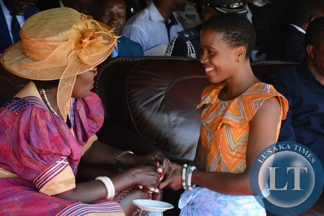 Vice President Inonge Wina greats Tasila Lungu the daughter to President Lungu during the investiture ceremony at State House