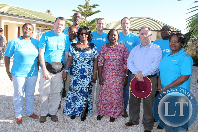 Visiting U.S. Fund for Unicef delegation after the meeting with First Lady Esther Lungu at Pangani Lodge in Katete on May 21,2015 -picture by THOMAS NSAMA