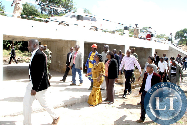 First Lady Esther Lungu inspects the President Edgar Lungu Bridge that was  constructed by Nyimba District Council . This was in Hofmeyer in Nyimba District, Eastern Province on May 20,2015 -Picture by THOMAS NSAMA
