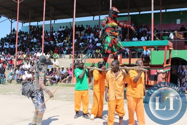 Mongu Central Prisons inmates performing during Labour Day Celebrations at Mongu Stadium in Mongu on Friday.