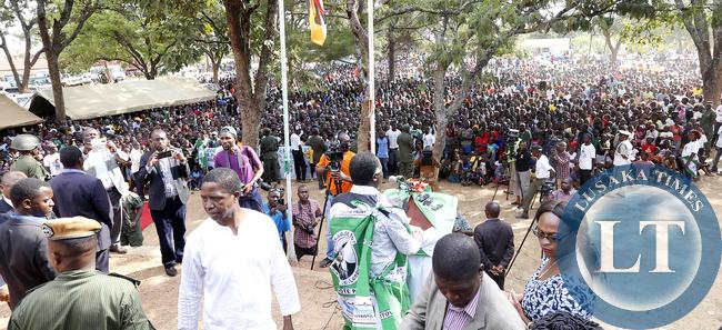 President Edgar Lungu with Richard Kapita at a rally at Mwinilunga Boma