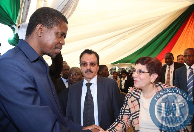 President Lungu Greets Ambassador Nagla El- Hussainy Assitant Secretary at COMESA  Centre is Ambassador Attalla Qubia  stateof Palestine at the Labour Day