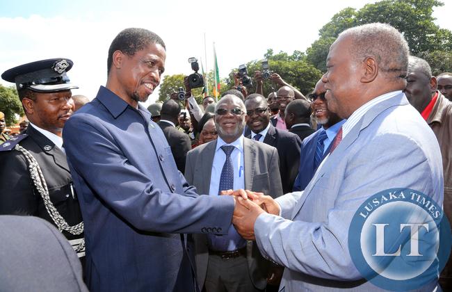 President Lungu Greets former President Rupiah Banda at labour day In Lusaka