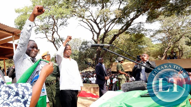 Richard Kapita with President Edgar Lungu PF salute at Mwinilunga Boma Rally
