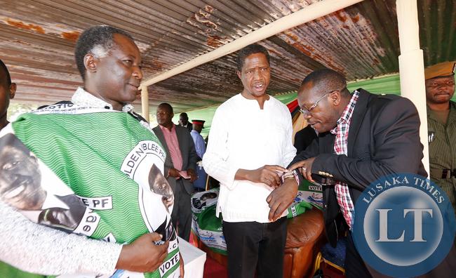 Richard Kapita with President Edgar Lungu and kaizah Zulu at Mwinlunga Boma