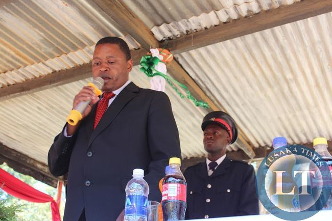 The Local Government and Housing Deputy Minister Nicholas  Banda(l) making his Labour Day speech in Mkushi.