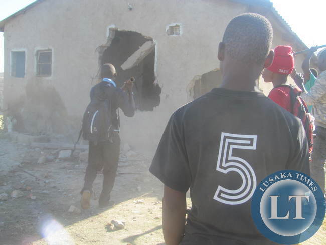 The house of Fassy Musonda demolished where a three year old boy was thrown into the well
