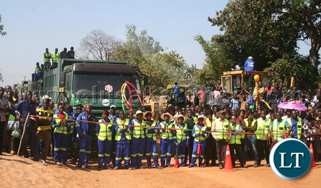 Road Pave construction company workers in Solwezi