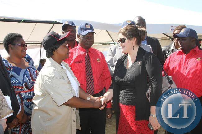 First Lady Esther Lungu greets USA PEPFAR Country Coordinator Kristine Mikus during the Commemoration of the International VCT Day in Lusaka on June 30,2015 -Picture by THOMAS NSAMA