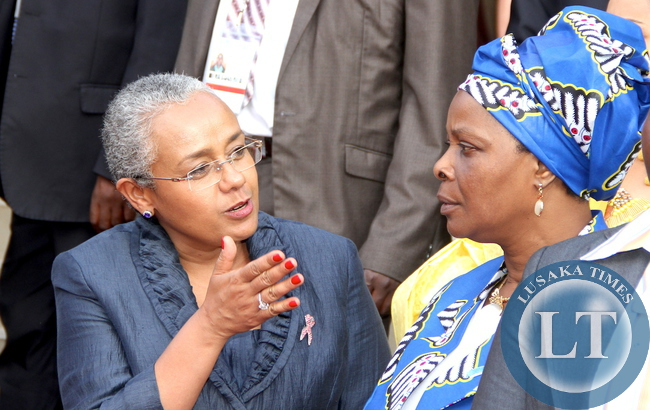 First Lady Esther Lungu with Kenya's First Lady Margaret Kenyatta at Kenya International Convention Centre in Nairobi  after tour of Aga Khan University Hospital in Nairobi on July 20,2015 -Picture by THOMAS NSAMA