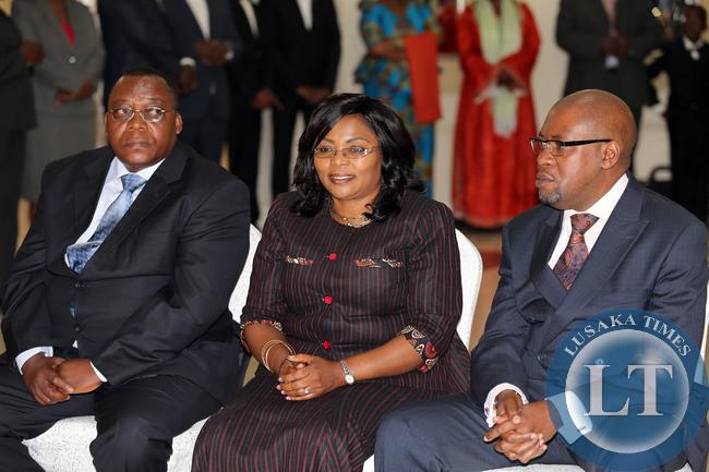 From right, Mr Walubita Imakando Ambassadot To Malaysia , Mrs Winnie Chibesakunda Ambassador To China nand Mr Josephy Mwape Mukukka Projects at The Statehouse- PICTURE  BY EDDIE MWANALEZA/ STATEHOUSE.