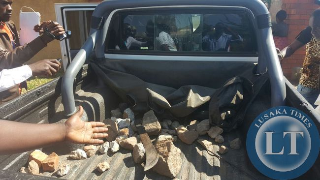 A vehicle, owned by PF cadres  that was trailing Mr. Hichilema's convoy