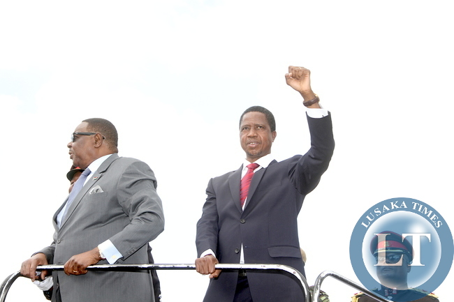 President Lungu with his Malawian Counterpart Prof Peter Mutharika on arrival at Kamuzu Stadium for Malawi's 51st Independence Celebrations at Kamuzu Stadium in Blantyre on July 6,2015 -Picture by THOMAS NSAMA