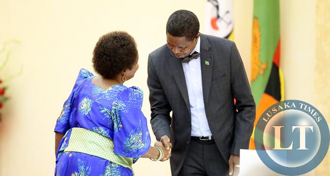President Lungu meets Mama Mirria Obete at Entebbe Statehouse