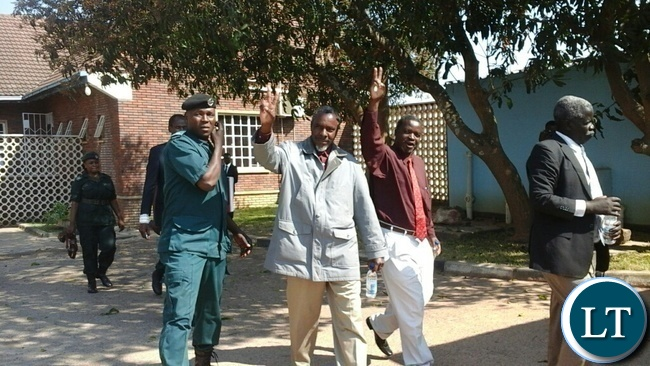 Some of the Barotse accused persons waving to the crow after appearing in Kabwe High Court