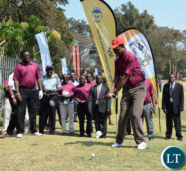 President Edgar Lungu tees off the Golf tournament at State House during the fundraising Golf tournament