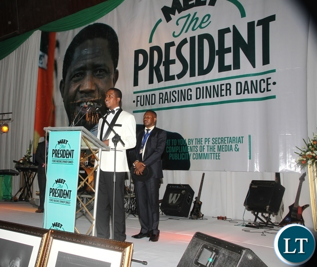 President Edgar Lungu delivering his speech during the meet the President Fundriasing dinner at Mulungushi Conference center