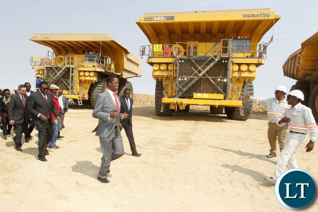 President Edgar Chagwa Lungu (centre) tours Husab Uranium Mine in Arandis, Namibia on Thursday, August 27,2015. PICTURE BY SALIM HENRY/STATE HOUSE ©2015