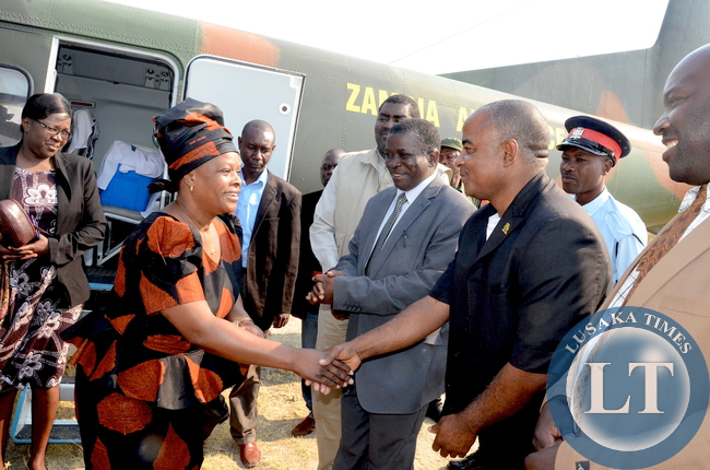 First Lady Esther Lungu being welcomed by Lukuku District Commissioner Mauri Litula on arrival in Lukulu District for the outreach programme for People with Special needs on Friday, August 14,2015 -Picture by THOMAS NSAMA
