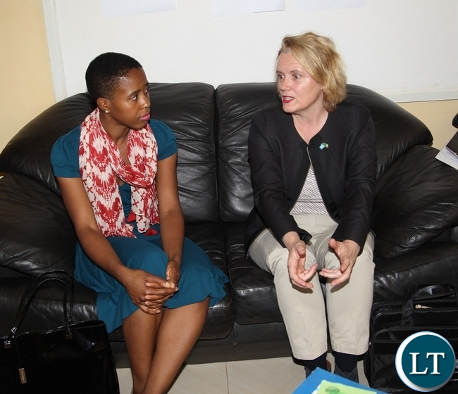 United Nations Resident Coordinator Janet Rogan briefs Tasila Lungu on the UNICEF and government sponsored programmes. Tasila Lungu is on an invitation of touring unicef and government programmes in Northern Province.