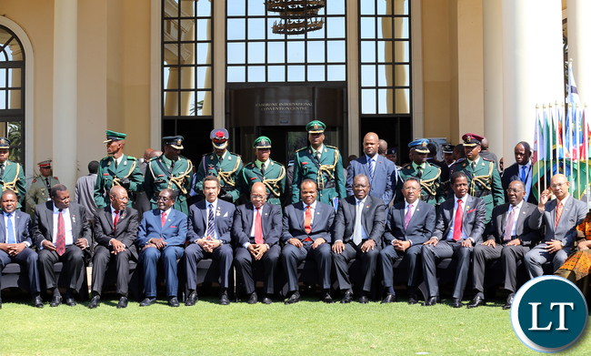 President Edgar Chagwa Lungu (4th-R) pose for a photo with other SADC leaders after the official opening of the 35th Ordinary Summit of Heads of State and Government at Gaborone International Convention Centre, Botswana on Monday, August 17th 2015. Picture by EDDIE MWANALEZA/STATE HOUSE