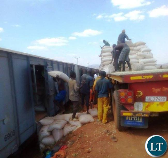 Some casual workers loading maize on a cargo wagons on Chipata-Mchinji Railway line.The train was exporting the commodity to both Malawi and Mozambique