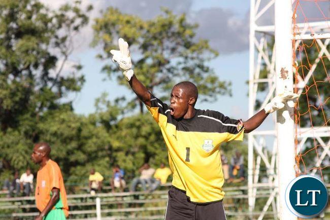 Zesco United goakeeper Jacob Banda shouting at his playersduring the FAZ/KCM league match played at Kafubu stadium in Luansya on Sunday-Picture by Abel Mambwe