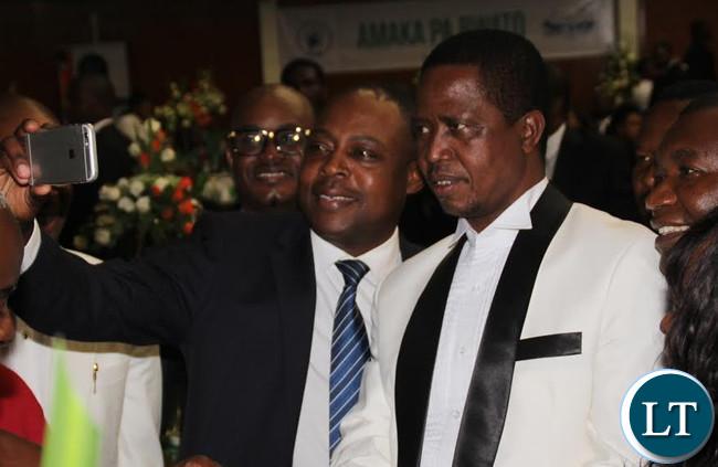 FAZ President Kalusha Bwalya taking a Selfie with the President