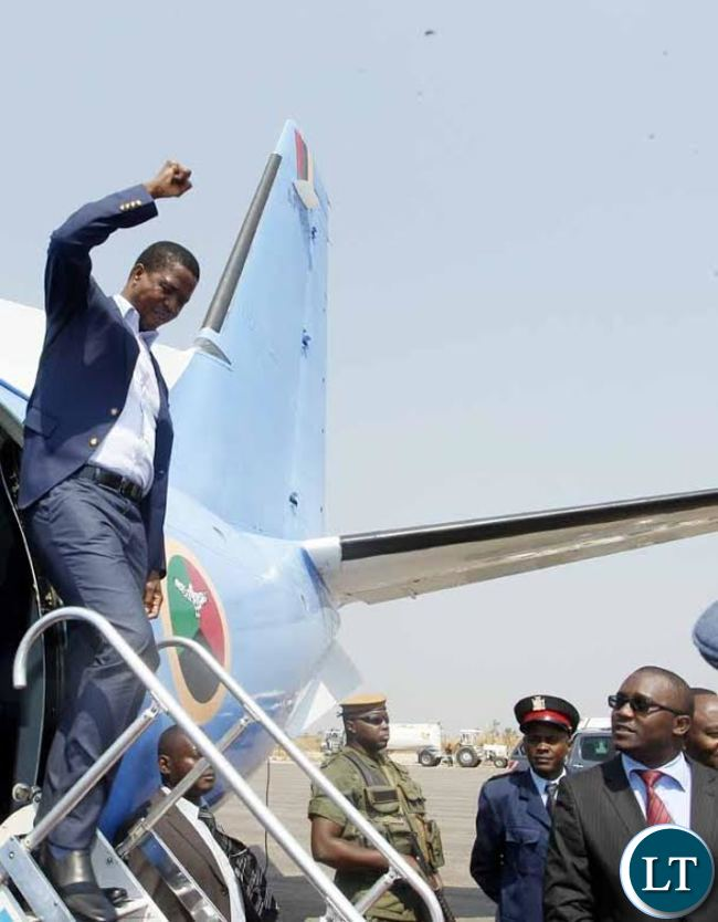 President Edgar Chagwa Lungu (left) waves as he arrives at Solwezi Airport on Friday, August 28,2015. PICTURE BY SALIM HENRY/STATE HOUSE ©2015