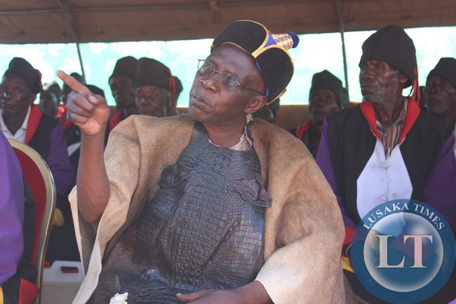 Mwinelubemba Chitumukulu Kanyata Manga II after being crowned at Mwenda ngombe during the installation ceremony . The ceremony was attended by president Edgar Lungu.