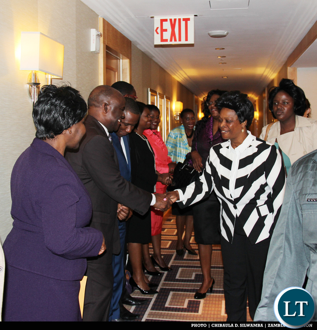 Diplomatic Staff of the Permanent Mission of the Republic of Zambia to the United Nations welcome the First Lady Her Excellency Mrs Esther Lungu on arrival at New York Palace Hotel en route to Dallas Texas for High-Level meetings. PHOTO | CHIBAULA D. SILWAMBA | ZAMBIA UN MISSION