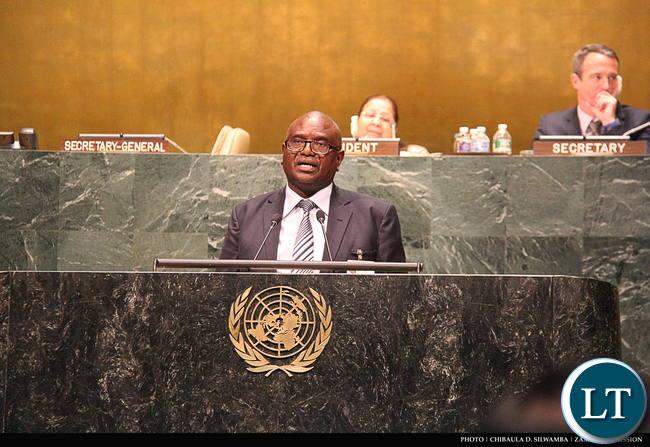 Speaker of the National Assembly of Zambia the Right Honourable Justice Patrick Matibini addressing the Fourth World Conference of Speakers of Parliament at UN Headquarters in New York, USA on 2 September, 2015. PHOTO | CHIBAULA D. SILWAMBA | ZAMBIA UN MISSION