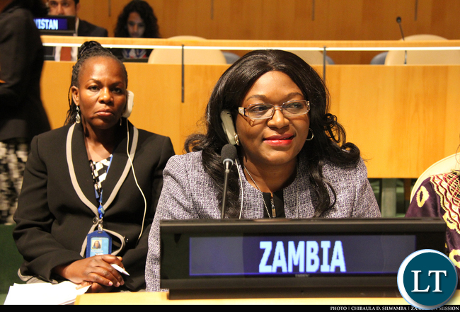Zambia's Permanent Representative to the UN Dr Mwaba Kasese-Bota and her deputy Christine Kalamwina during the Fourth World Conference of Speakers of Parliament at UN Headquarters in New York, USA on 2 September, 2015. PHOTO | CHIBAULA D. SILWAMBA | ZAMBIA UN MISSION