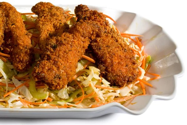 Chicken wings and coleslaw