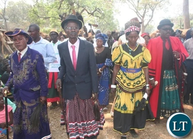 Senior chief Mujimanzivu with his wife, Catherine (r ) follow the proceedings during the Mkambi tradition ceremony held at his palace in Solwezi on Saturday. Picture by BETRAM KAOMA /ZANIS
