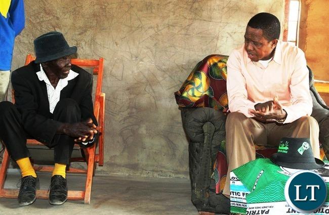 PRESIDENT Edgar Lungu confers with senior Chief Mupasha when he paid a courtesy call on him