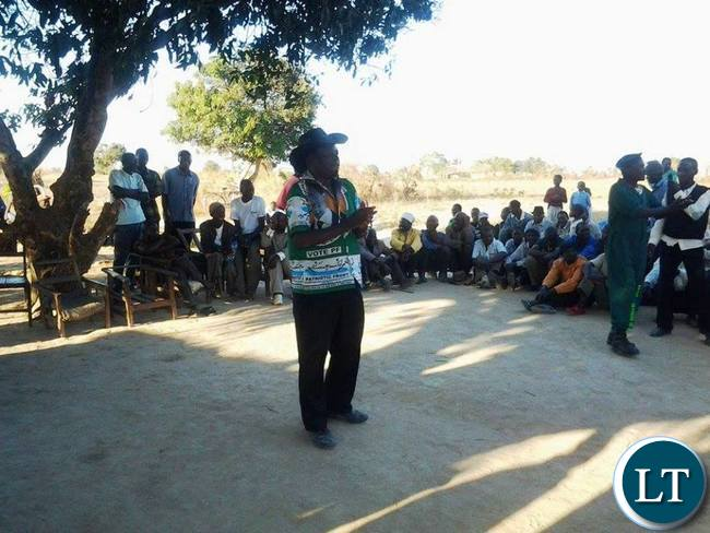 PF candidate in Nthithimila ward by-election Mackson Bili pleading for votes from people during meeting in Lundazi on Saturday.