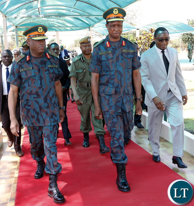 President Lungu with Gen Nath mulenga and Defence Minister Mr Richwell Siamunene