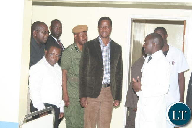 PRESIDENT Edgar Lungu with Lumwana District hospital medical superintendent Dr Mando Phiri (r ) during the tour of the female ward after commission the health facility in Kalumbila district in North-Western province on Sunday. Picture by BETRAM KAOMA /ZANIS