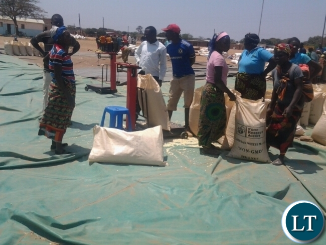 Some farmers weighning at Lumezi Food Reserve Agency depot in Lundazi
