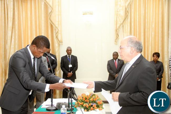 President Lungu receives credentials from Greece ambassador to Zambia  Leonidas Contovounesios (R) at State House on Thursday, September 17,2015 -Picture by THOMAS NSAMA