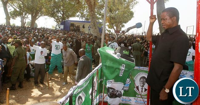 President Edgar Chagwa Lungu at President's Park in Luwingu on Saturday, September 12,2015.This was during the campaign for the Lubansenshi (PF) candidate George Mwamba. PICTURE BY SALIM HENRY/STATE HOUSE ©2015