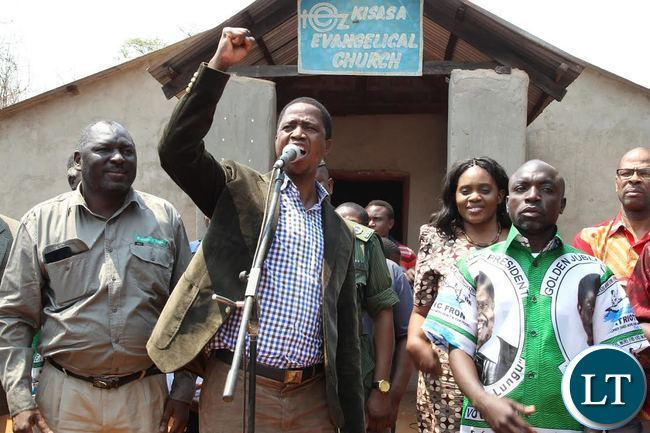 PRESIDENT Edgar Lungu addressing Musele residents after attending the church service at Kisasa in Solwezi west