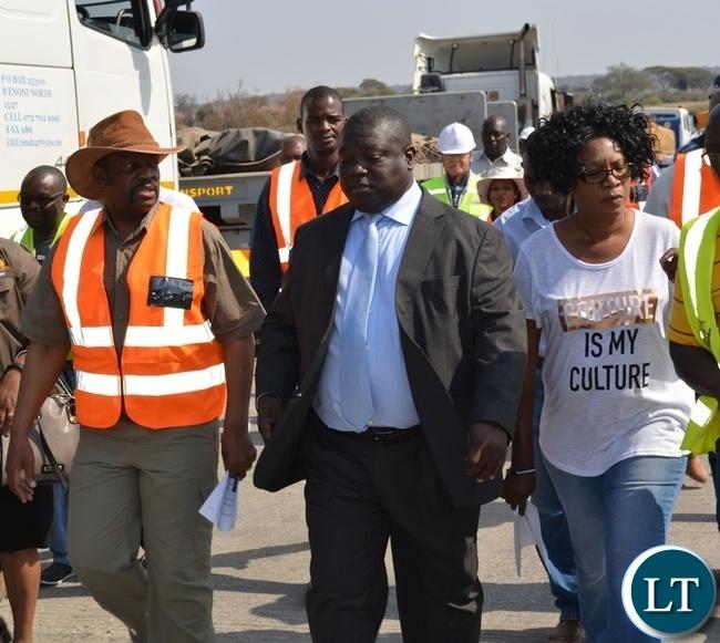Zambia's Transport, Works, Supply and Communication Minister Yamfwa Mukanga (middle), Botswana Minister for Transport and Communications Tshenolo Mabeo (left) and Kazungula District Commissioner Pascalina Musokotwane (right) during an inspection of Kazungula Bridge project