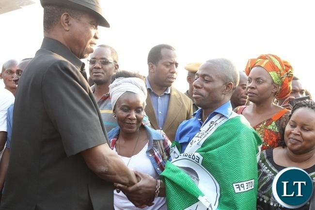 PRESIDENT Edgar Lungu is welcomed by Mfumbwe Member of parliament, Steven Masumba at Solwezi Airport