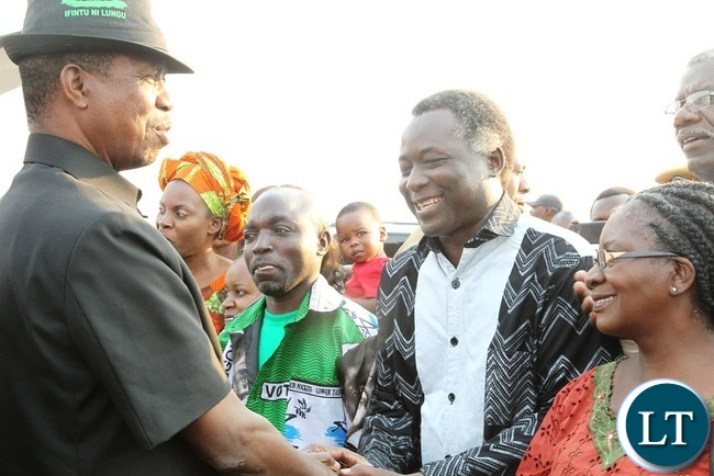 PRESIDENT Edgar Lungu is welcomed by Richard Kapita at Solwezi Airport