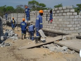 Chusaka Contractors workers building one of the 20 low cost houses for Ngabwe District Council